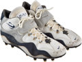 Football Collectibles:Others, 1996 Barry Sanders Game Worn & Signed Detroit Lions Cleats from The Eric Davis Collection....