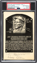 Baseball Collectibles:Others, 1956-63 Dizzy Dean Signed Artvue Hall of Fame Postcard, PSA/DNA Authentic. ...