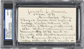 Baseball Collectibles:Others, Circa 1940 Joe Kelley Handwritten & Signed Biographical Index Card, PSA/DNA Mint 9....