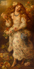 Paintings:Contemporary   (1950 to present), Cornelis Le Mair (Dutch, b. 1944). Flora, 1990. Oil on board. 78-1/4 x 40 inches (198.8 x 101.6 cm). Signed and dated lo...