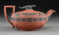 Ceramics & Porcelain, A Wedgwood Rosso Antico Teapot with Crocodile-Form Finial, Burslem (Stoke-on-Trent), Staffordshire, England, early 19th cent...