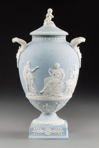 A Wedgwood Jasperware Handled Vase with Cover, Burslem (Stoke-on-Trent), Staffordshire, England, 19th century Mark