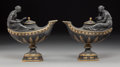 Ceramics & Porcelain, A Pair of Wedgwood Partial Gilt Basalt Figural Oil Lamps, Burslem (Stoke-on-Trent), Staffordshire, England, 19th century. Ma... (Total: 2 Items)