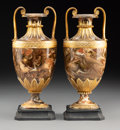 Ceramics & Porcelain, A Pair of Wedgwood Partial Gilt Agateware Two-Handle Urns, Burslem (Stoke-on-Trent), Staffordshire, England, 19th century. M... (Total: 2 Items)