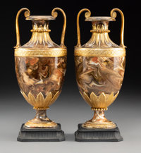 A Pair of Wedgwood Partial Gilt Agateware Two-Handle Urns, Burslem (Stoke-on-Trent), Staffordshire, England, 19th cen