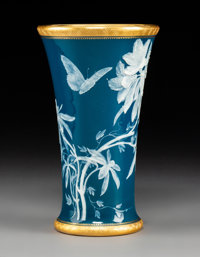 A Mintons Partial GIlt Pâte-sur-Pâte Porcelain Vase Decorated by Albion Berks, Stoke-on-Trent, Staffordshire...