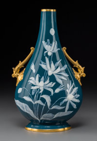 A Royal Worcester Partial Gilt Pâte-sur-Pâte Porcelain Two-Handled Bottle Vase, Stoke-on-Trent, Staffordshir...