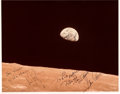 """Explorers:Space Exploration, Neil Armstrong and Gene Cernan Signed Apollo 8 """"Earthrise"""" Color Photo, Obtained In-Person. ..."""