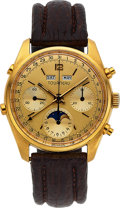 Timepieces:Wristwatch, Tourneau, Full Calendar Chronograph Val. 886, 18k Yellow Gold,Circa 1970's. ...