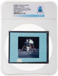 Explorers:Space Exploration, Apollo 11 Original NASA Glass Film Slide, a View of Buzz Aldrin Preparing EASEP, Directly From The Armstrong Family Collec...