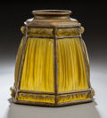 Glass, Tiffany Studios Glass and Gilt Bronze Linenfold Lamp Shade. Circa 1910. Stamped TIFFANY STUDIOS, NEW YORK. H...