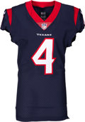 Football Collectibles:Uniforms, 2017 Deshaun Watson Game Worn & Signed Houston Texans Jersey - Photo Matched to 10/1 vs. Titans (4 TD Game!)....
