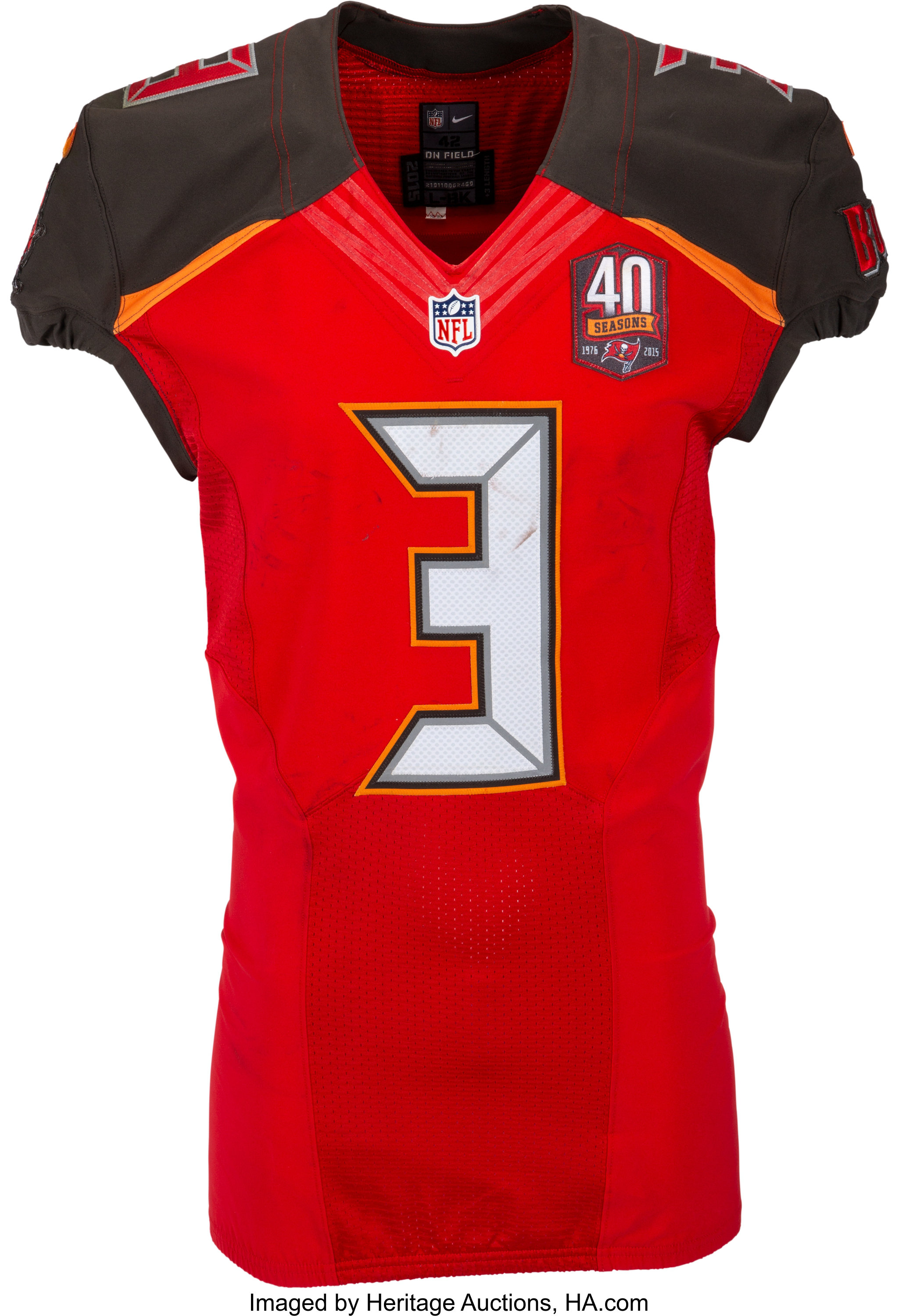 2015 jameis winston game worn tampa bay buccaneers rookie jersey lot 57715 heritage auctions https sports ha com itm football collectibles uniforms 2015 jameis winston game worn tampa bay buccaneers rookie jersey photomatched to 12 6 vs falcons a 50013 57715 s