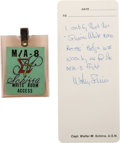 """Explorers:Space Exploration, Mercury-Atlas 8 Sigma (Σ) 7: Wally Schirra's Personally-Worn """"MA-8 White Room Access"""" Badge with Handwritten Lette..."""