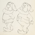 Animation Art:Production Drawing, Snow White and Seven Dwarfs Sleepy and Happy Animation Drawing (Walt Disney, 1937)....