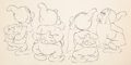 Animation Art:Production Drawing, Snow White and Seven Dwarfs Sneezy, Happy, Bashful andSleepy Animation Drawing (Walt Disney, 1937). ...