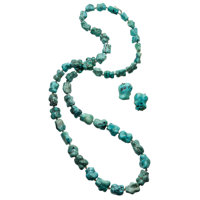 Turquoise, Gold Jewelry Suite