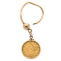 Estate Jewelry:Other, Gold Coin, Gold Keychain. ...