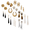 Estate Jewelry:Earrings, Multi-Stone, Mabe Pearl, Cultured Pearl, Glass, Gold, White Metal Earrings. ... (Total: 12 Items)