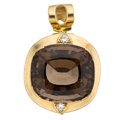 Estate Jewelry:Pendants and Lockets, Smoky Quartz, Diamond, Gold Pendant . ...