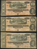 Confederate Notes:1864 Issues, T68 $10 1864, Three Examples Fine or Better.. ... (Total: 3 notes)