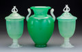 Glass, Two Steuben Green Jade Glass Covered Urns and One Vase. 1903-1932. Ht. 10-1/2 in.. ... (Total: 3 Items)