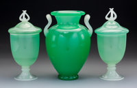 Two Steuben Green Jade Glass Covered Urns and One Vase 1903-1932. Ht. 10-1/2 in