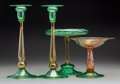 Glass, Steuben Glass Table Articles. 1903-1932. Ht. 12 in. (tallest, candlesticks). ... (Total: 4 Items)