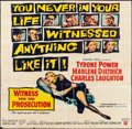 """Movie Posters:Mystery, Witness for the Prosecution (United Artists, 1958). Folded, Fine+.Six Sheet (80.25"""" X 79""""). Mystery.. ..."""