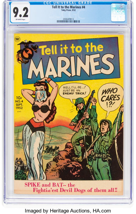 Tell it to the Marines #4 (Toby Publishing, 1952) CGC NM- 9.2 Off-white pages....
