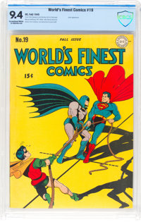 World's Finest Comics #19 (DC, 1945) CBCS NM 9.4 Exceptional White