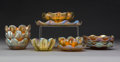 Glass, Six Tiffany Studios Gold Favrile Glass Sherbet Bowls with Underplates. Circa 1920. Engraved L.C.T., Favrile, (various). ... (Total: 12 Items)