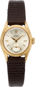 Timepieces:Wristwatch, Rolex, Ladies 18K Yellow Gold Oyster Perpetual with Sub SecondsDial, Ref. 6509, Circa 1954. ...
