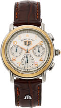 Timepieces:Wristwatch, Maurice Lacroix, Big Date Steel & Gold Flyback Chronograph, Circa 1990's. ...