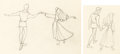 Animation Art:Production Drawing, Sleeping Beauty Briar Rose and Phillip Production DrawingGroup of 2 (Walt Disney, 1959)....