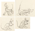 Animation Art:Production Drawing, Pluto Animation Rough Drawings Group of 4 (Walt Disney, c.1930s)....