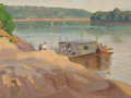 Texas:Early Texas Art - Impressionists, Olin Travis (American, 1888-1975). Ferry Boat, 1916. Oil onboard. 12 x 15-3/4 inches (30.5 x 40.0 cm). Signed, dated, a...