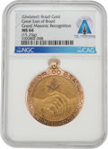 """Explorers:Space Exploration, Neil Armstrong's Brazilian """"Great Masonic Recognition"""" 18K Gold Medal MS66 NGC Directly From The Armstrong Family Collection™,..."""
