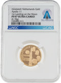 Explorers:Space Exploration, Giant Leap World Tour, 10/09: Undated Netherlands Gold Medal, PF67 Ultra Cameo NGC, Directly From The Armstrong Family Collect...