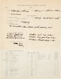 Football Collectibles:Others, 1925 Hunk Anderson Signed Notre Dame Scouting Report of Illinois vs. Nebraska Game - Only College Game Red Grange Didn't Score...