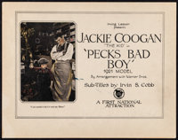"""Peck's Bad Boy (First National, 1921). Fine/Very Fine. Title Lobby Card (11"""" X 14""""). Comedy"""