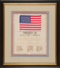 Explorers:Space Exploration, Apollo 9 Flown American Flag on Crew-Signed Presentation Certificate to Rooster Andrews, in Framed Display....