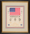 Explorers:Space Exploration, Apollo 10 Flown American Flag on Crew-Signed Presentation Certificate to Rooster Andrews, in Framed Display. ...