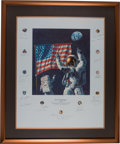 "Explorers:Space Exploration, Alan Bean Signed ""In the Beginning..."" Limited Edition, #218/1000, Color Print Signed by a Total of Twenty-one Apollo Astronau..."