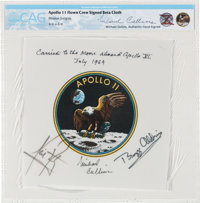 Apollo 11 Flown and Crew-Signed Beta Cloth Mission Insignia Directly from the Personal Collection of Mission Command Mod...
