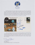 """Explorers:Space Exploration, Apollo 11 Crew-Signed """"Type One"""" Insurance Cover, #BA22, Originally from the Personal Collection of Mission Lunar Module Pilot..."""