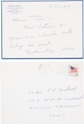 Explorers:Space Exploration, George H. W. Bush 1980 Autograph Note Signed with Transmittal Envelope to Astronaut Tom Stafford and Originally from His Perso...