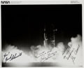 Explorers:Space Exploration, Apollo 17 Crew-Signed Original NASA Night Launch Photo; All Have Added Comments. ...