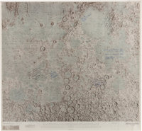 Apollo Moonlandings: Rare NASA Color Lunar Planning Chart LOC-2 Signed by One Moonwalker from Each Landing Mission with...