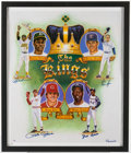 """Baseball Collectibles:Photos, 1990's Ron Lewis """"Kings of Baseball"""" Multi-Signed Poster Print -Includes Aaron, Henderson, Rose, & Ryan - Full LOA fromPSA/D..."""